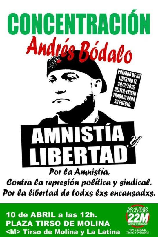 Las gentes solidarias de Madrid salen a la calle hoy en solidaridad con Andrés Bódalo